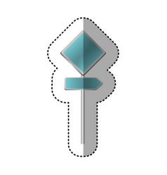 Sticker metallic blue diamond shape traffic sign vector