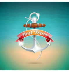Summer Holiday Design with anchor vector image