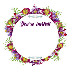 watercolor flowers in a circle vector image vector image