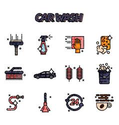 car wash flat icons set vector image vector image