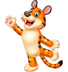Cute tiger waving hand vector