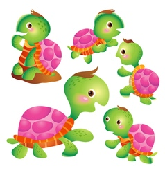 Cute turtle cartoon pink vector image