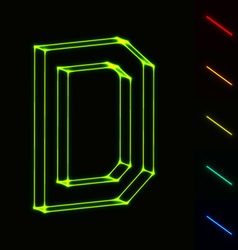 EPS10 glowing wireframe letter D - easy to change vector image vector image