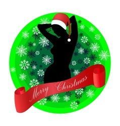 Female Silhouette In A Christmas Hat vector image
