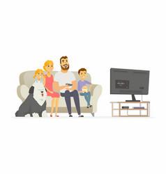 happy family watching tv - modern cartoon people vector image vector image