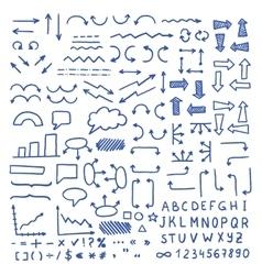 Huge set of blue hand drawn elements vector image