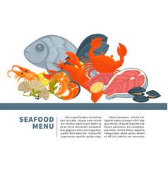 seafood menu poster design for fresh fish vector image vector image