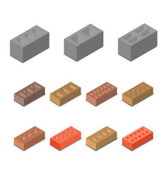 set isometric icon construction materials vector image