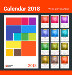 wall calendar for 2018 year design print template vector image vector image