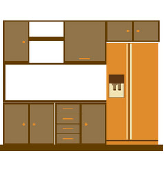 color silhouette of kitchen cabinets with fridge vector image vector image