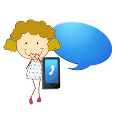 Girl with cell phone vector image vector image