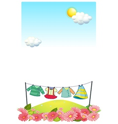 Hanging clothes at the hilltop vector image vector image