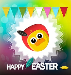 Happy Easter Card with Chicken Flags and Retro vector image vector image