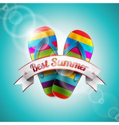 Summer Holiday Design with slipper and ribbon vector image vector image