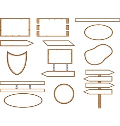 Wood shape signs vector image vector image