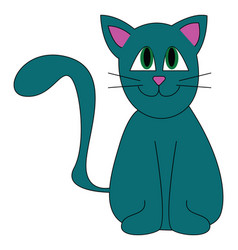 A blue cat with green eyes looks cute or color vector