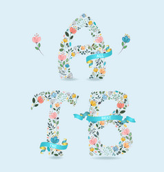 all the best floral letters with blue ribbons vector image