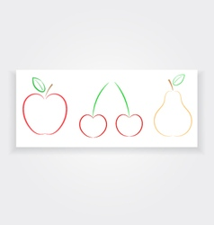 Apple pear cherry banner natural products vector image