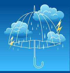 background with thunderstorm and umbrella vector image