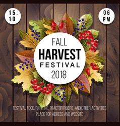 Banner for harvest festival with autumn leaves vector