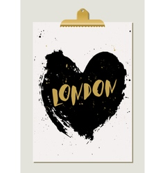 Black Heart London Poster vector image