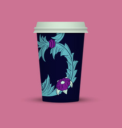 Blue abstract cover for plastic coffee cup vector