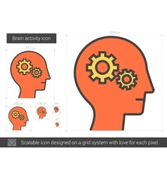 Brain activity line icon vector image