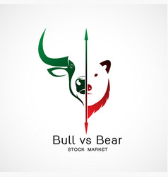Bull and bear symbols stock market trends vector