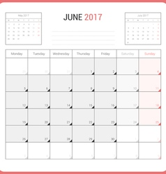Calendar Planner for June 2017 vector