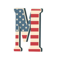 capital 3d letter m with american flag texture vector image