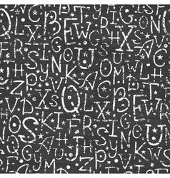 Chalkboard alphabet letters seamless pattern vector image