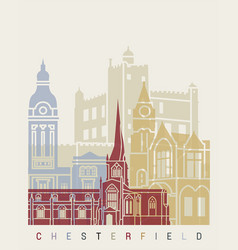 Chesterfield uk skyline poster vector
