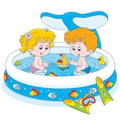 Children in a kids pool vector image