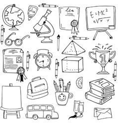 Collection education supplies doodles vector