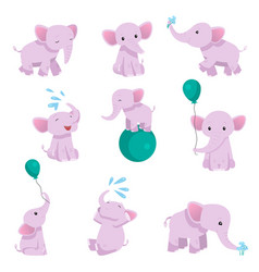 collection of lovely baby elephant pink animal vector image