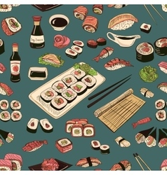 Colored Sushi and rolls seamless pattern vector
