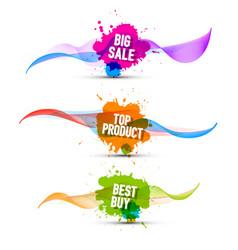 colorful pomotion labels set big sale top product vector image