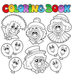 Coloring book with funny clowns vector