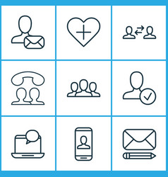 Communication icons set with communication approv vector