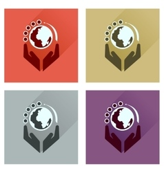 Concept of flat icons with long shadow Earth hands vector