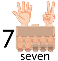 Counting number seven with eggs in carton vector