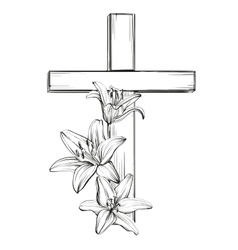 Cross and floral blooming lilies a symbol of vector