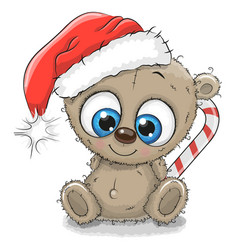 Cute cartoon teddy bear in a santa hat vector