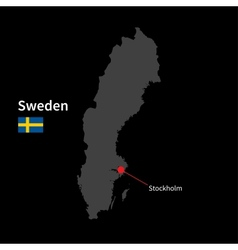 Detailed map of Sweden and capital city Stockholm vector image