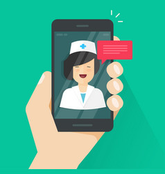 Doctor online on mobile phone vector