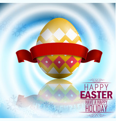 easter yellow egg with red ribbon vector image