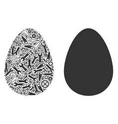 Egg mosaic of repair tools vector