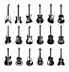 Electric and acoustic guitar music instrument vector
