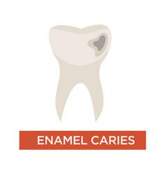 Enamel caries dental disease tooth damage vector