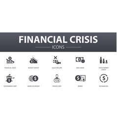 Financial crisis simple concept icons set vector